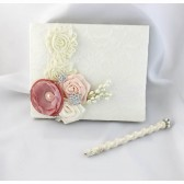 Wedding Lace Guest Book Custom Made and Pen in Ivory, Nude and Dusty Pink with Handmade Flowers, Brooches and Stamens' Accents