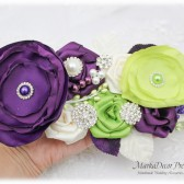 Wedding Sash Bridal Jeweled Flower Sash Custom Belt in Ivory, Plum Purple, Lime Green with Brooches, Handmade Flowers Barn Wedding