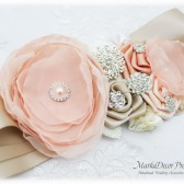 Champagne Sash Blush Bridal Wedding Sash Jeweled Brooch Flower Belt Beaded Sash Custom Belt in Champagne, Blush, Ivory, Peach