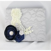 Wedding Lace Guest Book Custom Made in Ivory, Silver and Navy Blue with Handmade Flowers, Brooches and Stamens' Accents