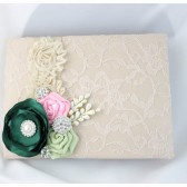 Wedding Lace Guest Book Custom Made in Tan, Pink, Ivory and Emerald and Lime Juice Green with Handmade Flowers and Brooches