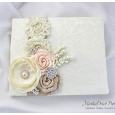 Wedding Lace Guest Book Custom Made in Tan, Ivory, Nude and Champagne with Handmade Flowers, Brooches and Stamens' Accents