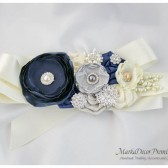 Bridal Sash / Belt in Ivory Navy and Silver with Brooches, Glass Beads and Handmade Flowers