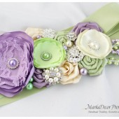 Bridal Sash / Belt in Ivory Lime Juice Green and Lavender with Brooches, Glass Beads and Handmade Flowers
