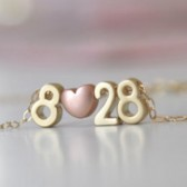 Date Necklace, Number Necklace, Bridal Necklace, Anniversary Necklace, Wedding Gift