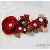 Bridal Sash / Belt in Red Brick, Brown and Ivory with Brooches, Glass Beads, Leaves and Handmade Flowers