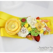 Bridal Sash / Belt in Yellow Daffodil, Lime Green, Orange and Ivory with Brooches, Glass Beads, Leaves and Handmade Flowers