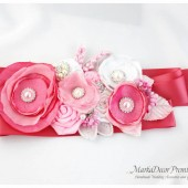 Bridal Sash / Belt in Candy Pink, Pink, Light Pink and White with Brooches, Glass Beads, Leaves and Handmade Flowers