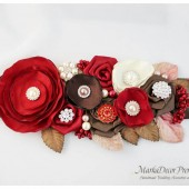 READY TO SHIP Bridal Sash / Belt in Red Brick, Brown and Ivory with Brooches, Glass Beads, Leaves and Handmade Flowers