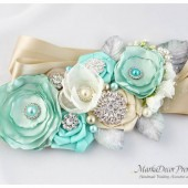 Bridal Sash / Belt in Aqua, Mint, Tiffany Blue, Celery Green, Ivory and Champagne with Brooches, Glass Beads, Leaves and Handmade Flowers