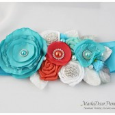 Bridal Sash / Beach Wedding Belt in Sea Foam Blue, Light Turquoise, Coral and White with Brooches, Glass Beads, Leaves and Handmade Flowers