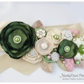 Bridal Sash / Country Wedding Belt in Hay Green, Blush Pink, Champagne and Ivory with Brooches, Glass Beads, Leaves and Handmade Flowers