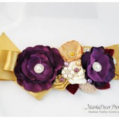 Bridal Sash / Country Wedding Belt in Eggplant Purple, Gold and Ivory with Brooches, Glass Beads, Leaves and Handmade Flowers