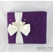 Wedding Lace Guest Book Custom Made in Purple and Ivory with Handmade Flowers, Bow and Crystal Buckle