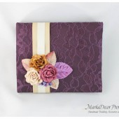 Wedding Lace Guest Book Custom Made in Shades of Plum, Tan, Ivory with Handmade Flowers, Leaves and Stamens' Accents