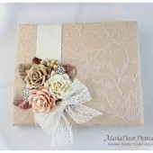 Wedding Lace Guest Book Custom Made in Tan, Champagne, Nude and Ivory with Handmade Flowers, Leaves, Nettings and Brooches