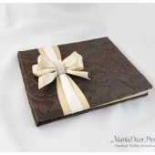 Wedding Lace Guest Book Custom Made in Dark Brown , Champagne and Ivory with a Handmade Bow and Crystal Buckle