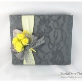 Wedding Lace Guest Book Custom Made in Dark Grey, Maize and Yellow with a Handmade Boutonniere