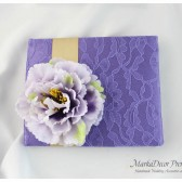 Wedding Lace Guest Book Custom Made in Lavender and Gold with a Big Handmade Flower