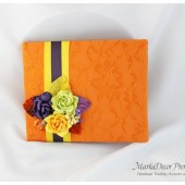 Wedding Lace Guest Book Custom Made in Orange, Lapis Purple, Yellow and Lime Green with Handmade Flowers, Leaves and Stamens' Accents