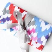 Pretty Ribbon Clutch, Purple Red Grey