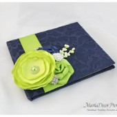 Wedding Lace Guest Book Custom Made in Navy and Lime Green with Handmade Flowers, Brooches and Stamens' Accents