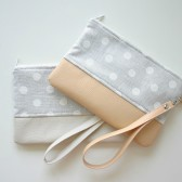 Polka dot and leather wristlet Peach Grey
