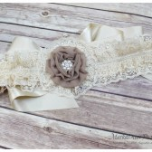 Lace Bridal Sash / Belt in Champagne Cream and Latte with Brooch Big Handmade Flower