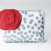 Cosmetic Bag,Bridesmaid Gift, Grey and Red