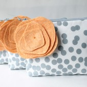 Cosmetic Bag Set, Bridesmaid Gift, Grey and Peach
