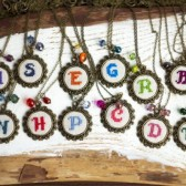 Initial embroidered necklace personalized with beads
