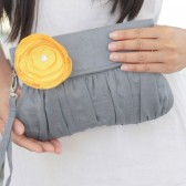 Yellow and Grey Clutch