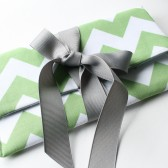 Ribbon Clutch, Bridesmaid Gift, Chevron, Emerald Green and Gray