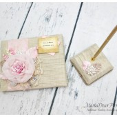 Wedding Natural Lace Guest Book and Pen Set Custom Made in Ivory Pink and Champagne with Handmade Flowers, Brooches, Crystals, Rhinestones