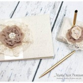 Wedding Natural Guest Book and Pen Holder Set Custom Made in Champagne Ivory and Latte with Handmade Flowers, Brooches, Crystals