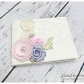 Wedding Lace Guest Book Custom Made in Ivory, Light Pink and Silver Grey with Handmade Flowers, Brooches and Stamens' Accents