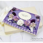 Personalized Wedding Guest Book with a Box Custom Made in Ivory Lavender Lilac Purple with Handmade Flowers, Brooches, Name Plate