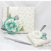 Wedding Lace Guest Book and Pen Set Custom Made in Ivory and Mint with Handmade Flowers, Brooches, Crystals, Rhinestones