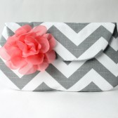 Chevron Clutch, Gray and White with Coral Flower