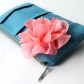 Pleated Clutch Purse, Blue and Coral