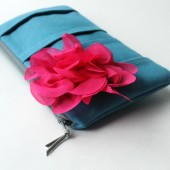 Pleated Clutch Purse, Blue and Fuchsia