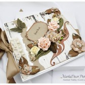Personalized Wedding Guest Book Vintage with a Box Custom Made in White Ivory Tan Nude Brown Champagne with Handmade Flowers, Lace