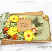 Personalized Wedding Birthday Guest Book with a Box Custom in Olive Green, Yellow, Tan, Brown, Orange with Handmade Flowers