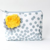 Cosmetic Bag, Bridesmaid Gift, Grey and Yellow Flower