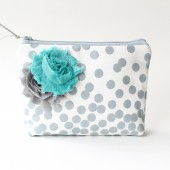 Cosmetic Bag, Bridesmaid Gift, Grey and Aqua
