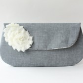 Wedding Clutch, Grey and White Flower
