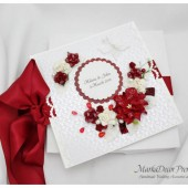 Personalized Wedding Guest Book with a Box Custom Made in White Ivory Red Burgundy Bordeaux with Handmade Flowers