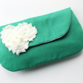 Bridal Clutch, Emerald and White
