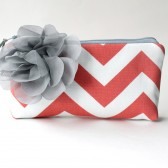 Chevron Clutch, Coral and White with Grey Flower