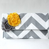 Chevron Clutch, Gray and White with Yellow Flower